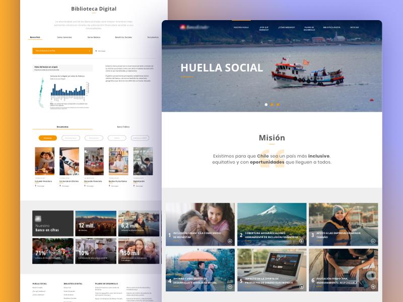 Huella Social Website design bank card ui site web