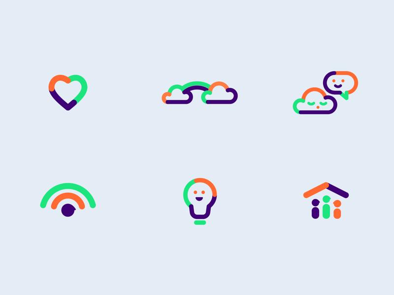 Happy icons healthcare care dementia building connecting monoline color icon design design identity branding iconography smile icons