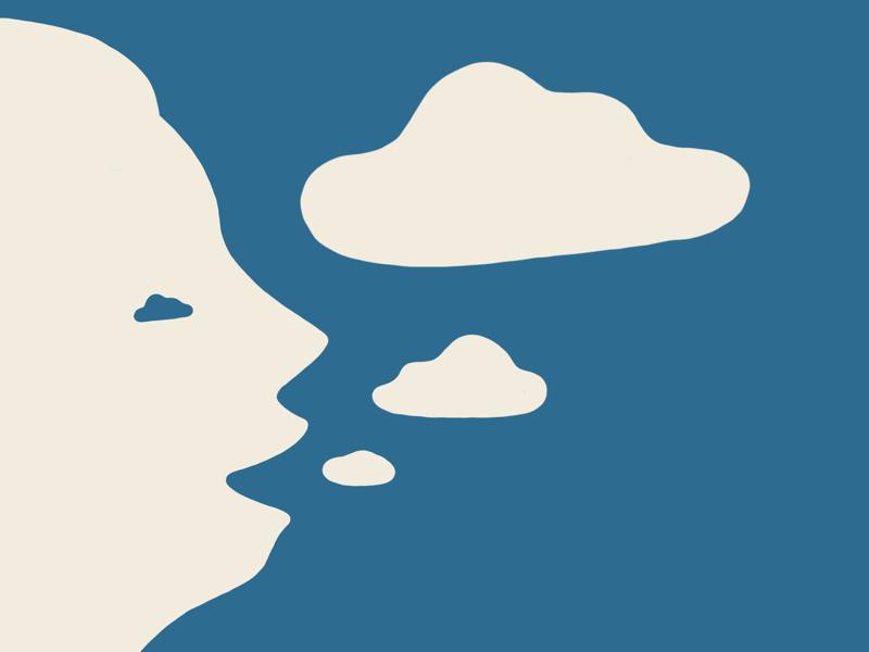 Light conversation illustrator drawing laugh speech bubble breathe speak sky cloud procreate idea draw illustration