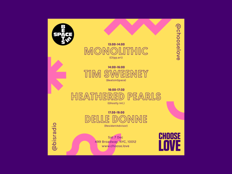 Choose Love Instagram Poster: BeatsinSpace dance techno electronic music flyer poster color design branding