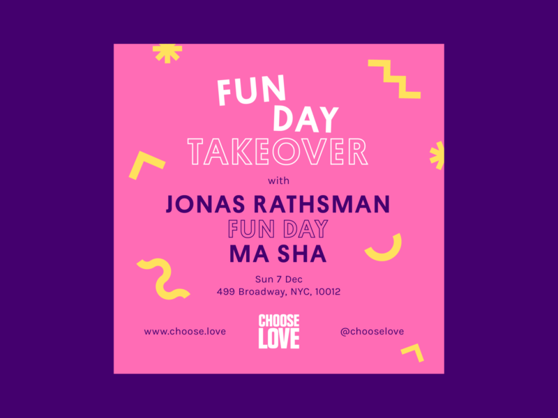 Choose Love Instagram Poster: Fun Day Takeover dj electronic poster art techno poster design event music fun socialmedia poster color branding design