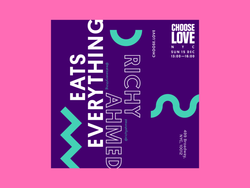 Choose Love Instagram Poster: Eats Everything x Richy Ahmed flyer event dance social instagram poster art electronic poster design techno poster color branding design