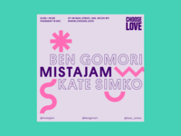 Mike Andrews Choose Love Instagram Poster: Kate Simko typography event chooselove poster art dj flyer dj techno electronic poster design poster branding color design