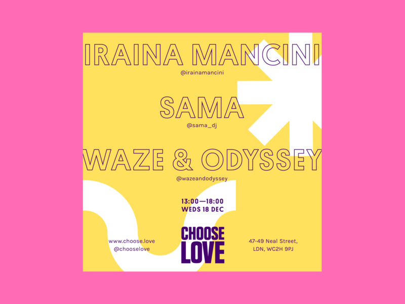 Choose Love Instagram Poster: Waze & Odyssey shapes typography store instagram flyer event music technopark electronic poster branding color design