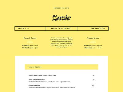 Zazie Menu restaurant zazie typography type menu web design web