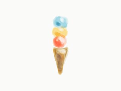 Ice Cream Sketch cone illustration ice cream water color