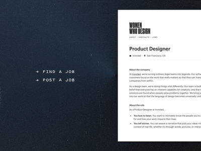 Women Who Design Job Board type web typography hiring job women who design