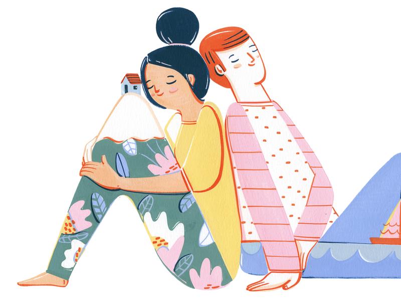 Bigbox scenery people colors design illustration