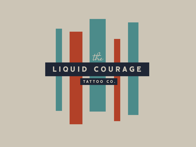 Liquid Courage Tattoo Co. fonts creative brand identity blue 1970s omaha illustration design identity branding