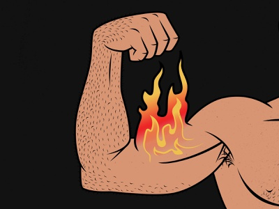 Flaming Biceps outlift bony to beastly strength training lifting gains illustration biceps bulking bodybuilder bodybuilding muscles flexing biceps flex