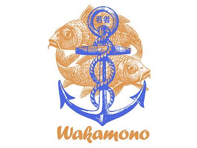 Wakamono badge mark identity restaurant branding logo design