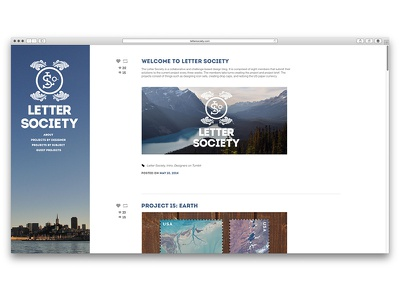 Letter Society - Homepage branding tumblr layout website responsive design web