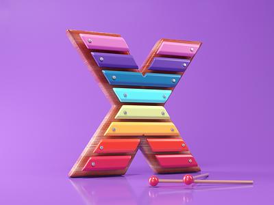 X as Xylophone 3d illustration c4dart graphic design octanerender creative cinema4d