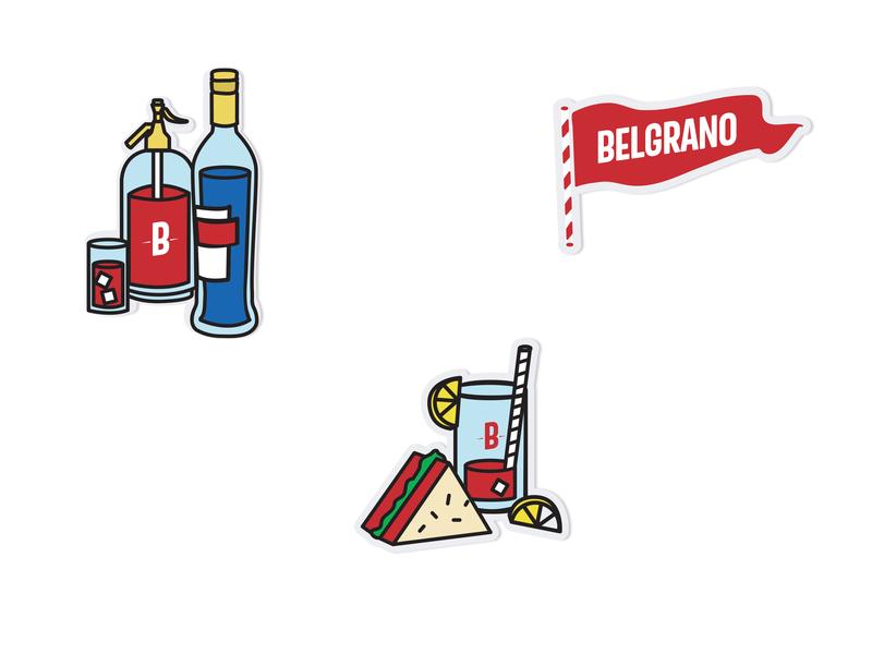 Belgrano // Café - Birra - Vermú merchandise design sticker design stickers identity design branding