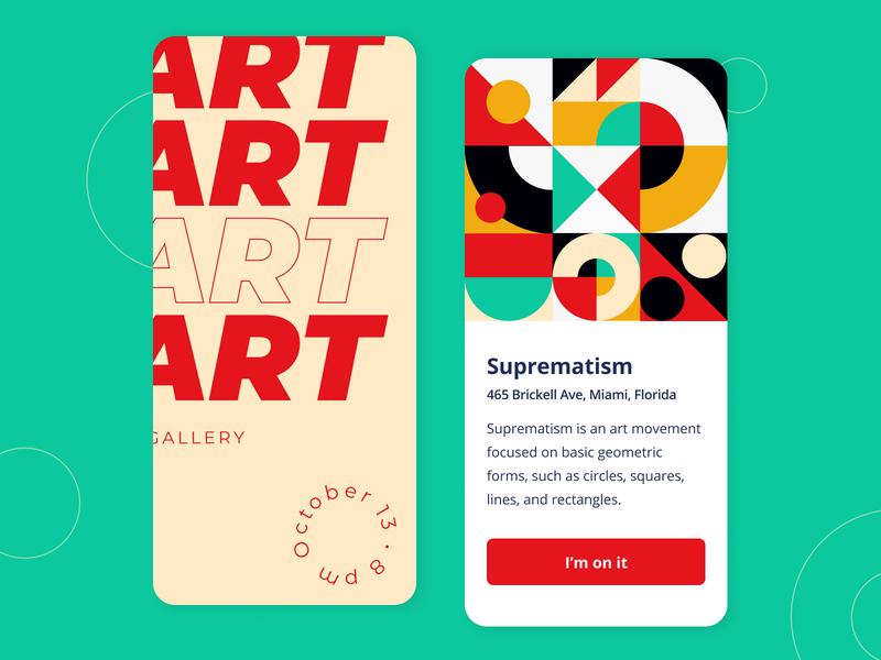 Art Gallery - Mobile app concept app graph figma sketch ux ui pallete event fonts text illustration forms suprematism simple exhibition art colors color concept arounda