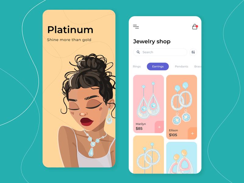 Jewelry Shop - Mobile app concept graph figma sketch ux ui pallete fonts illustration shot face pendants earrings simple shop gold girl jewelry color concept arounda