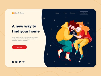Lovely Home - Web Concept space dark rent lovely home flat couple love web boy girl app ux ui illustration graph figma concept color arounda