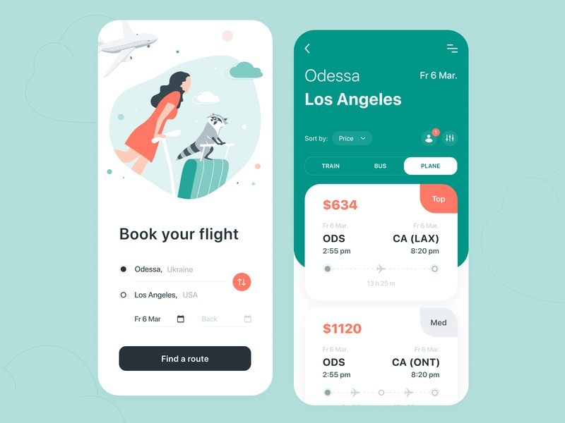 Traveling App - Mobile App clouds plane raccoon flat design concept ui ux application figma traveling travel trip tickets booking flight product design mobile illustration arounda