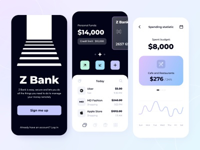 Z Bank - Mobile Application payment ui transactions ux startup graph statistics fintech bank app money illustration figma interface bank save money app finance mobile app concept arounda