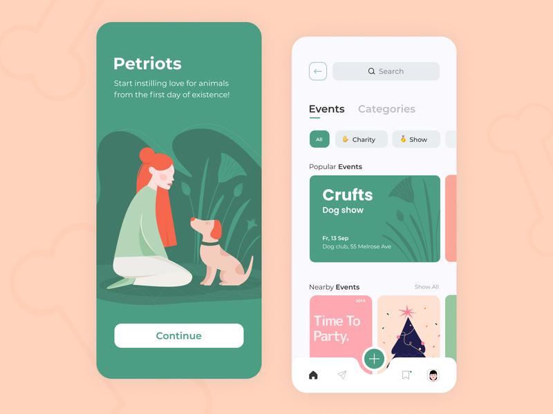Petriots - Mobile app concept nature events cards lovely pets charity app graph figma sketch ux ui dog girl pallete illustration color concept debut arounda