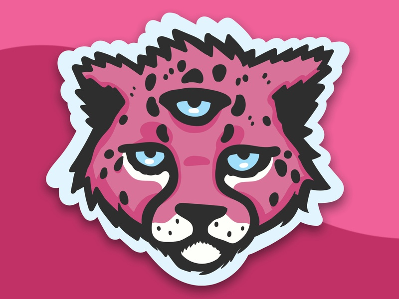 Three Eyed Cheetah - Sticker Illustration