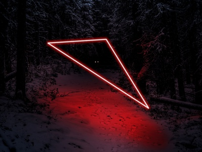 Neon Lights in the Forest photoshop glow red lights neon lights neon forest