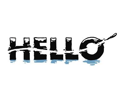 Hello Liquid Typography joburg south africa blue flow water drawing illustration design liquid typeface type typography hello