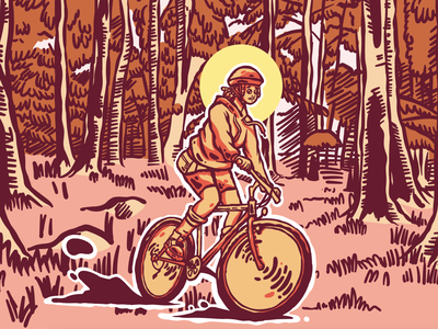 Cycling in the Forest design illustration vector blob bicycle johannesburg southafrican southafrica african afropunk afro