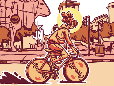 Riding through Braamfontein cycling bike bicycle african south african joburg johannesburg south africa afro hair fashion illustration