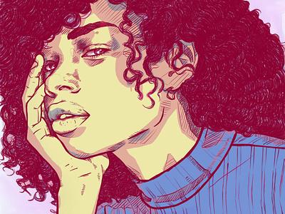 Textured Cross Hatching afropunk sketchbook portrait afro johannesburg drawing sketch illustration