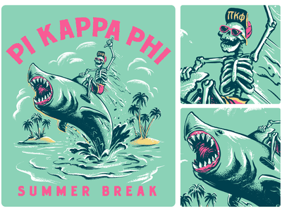 Jump the Shark pi phi life greek hang ten cartoon character spring break beach sea rodeo riding skeleton tropical island summer shark vintage character illustration
