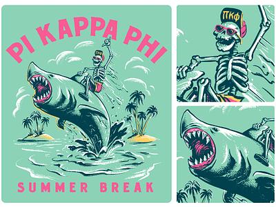Jump the Shark pi phi life greek hang ten cartoon character spring break beach sea rodeo riding skeleton tropical island summer shark vintage character illustration