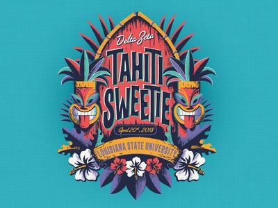 Tahiti Sweetie lsu sorority greek life spring break crest hibiscus surf tahiti polynesian hawaiian tropical tiki