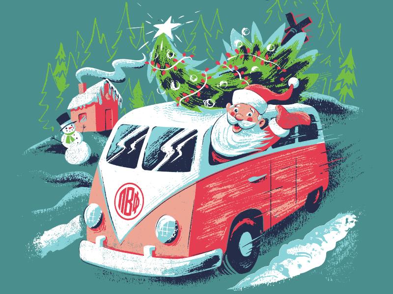 Santa Claus in a Van cartoon comic illustration pi phi pi beta phi greek life snow christmas tree snowman van christmas cartoon