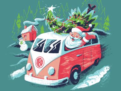 Santa Claus in a Van