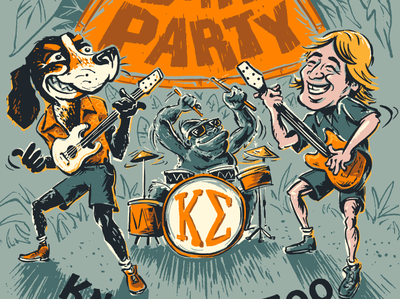 Jungle Party drums guitar pedal music steve irwin rock party safari jungle vols volunteers tennessee smokey