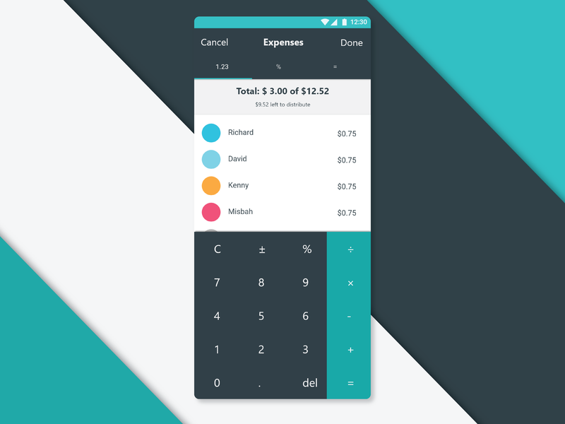 Daily UI 4 - Expense Splitting Calculator by Richard Hsiao