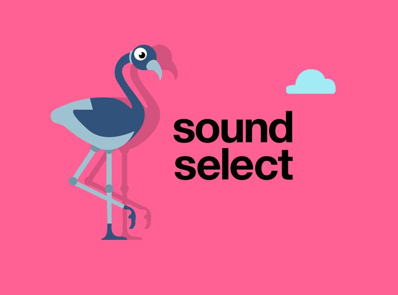 Sound Select - word mark and character minimal logo illustration icon ux ui mobile ui design branding app