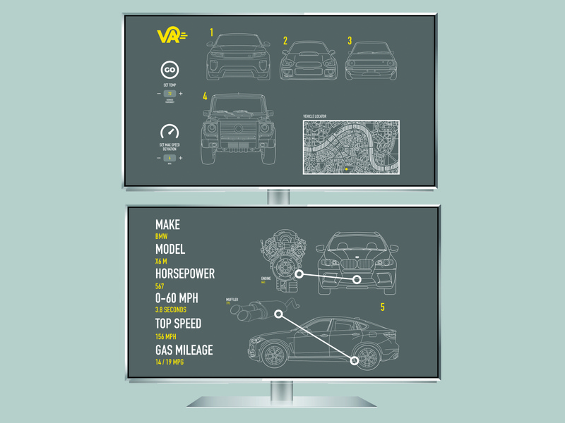 Vehicle Assistant - television top and bottom flat minimal illustration logo icon ux ui design branding app