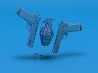 Hulu movie genre render - action bullet grenade gun movies movie hulu 3d modeling 3d rendering 3d web ux ui