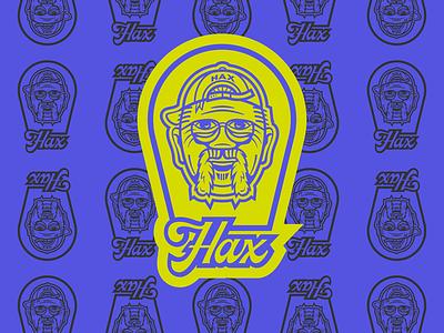 Hax Swing Shax - badge logo branding badges hax mustache logo design wordmark logo type script font script thicklines green purple baseball grandpa illustrator illustrative logo badge logo badge