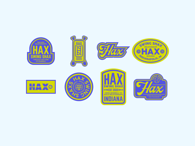 Hax Swing Shax - brand badges shax swing hax baseball badge patches patch brand identity baseball green purple badge design badge logo badges typography logo branding design