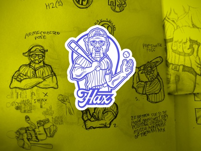 Hax Swing Shax - body bust badge with sketches brand patch bust branding vector strong old man baseball bat baseball logo design logo drawing draw sketches sketching sketch badge design badge logo badge body