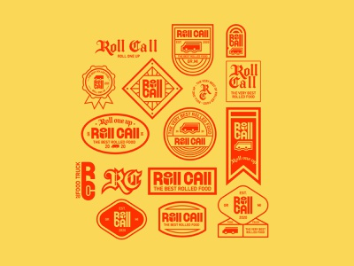 Roll Call Food Truck - brand badges brand identity brand design branding logotype type design typography red yellow food logo patch logo patch design patch badge logo badge desgin badge logo truck food food trucks roll call