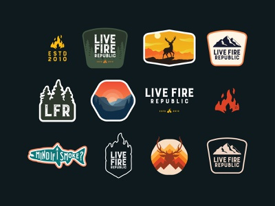 Live Fire Republic badges/patches explore sporting goods rei campfire patagonia hunting fishing camping hiking nature patch logo patch badge logo badge vector icon typography logo design branding