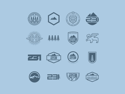 231 Performance - logo options natural nature outdoors trees stroke patch logo patch design patch badge logo badge design badges brand design brand identity brand colorway mountains icon logo design branding