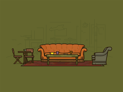 The One with the Coffee Shop vector chairs coffee table comfy orange couch central perk illustration