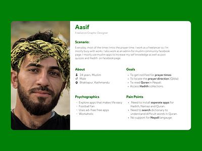 Muslim Prayer App: User Persona ui minimal mobile app user personas user persona ux user experience