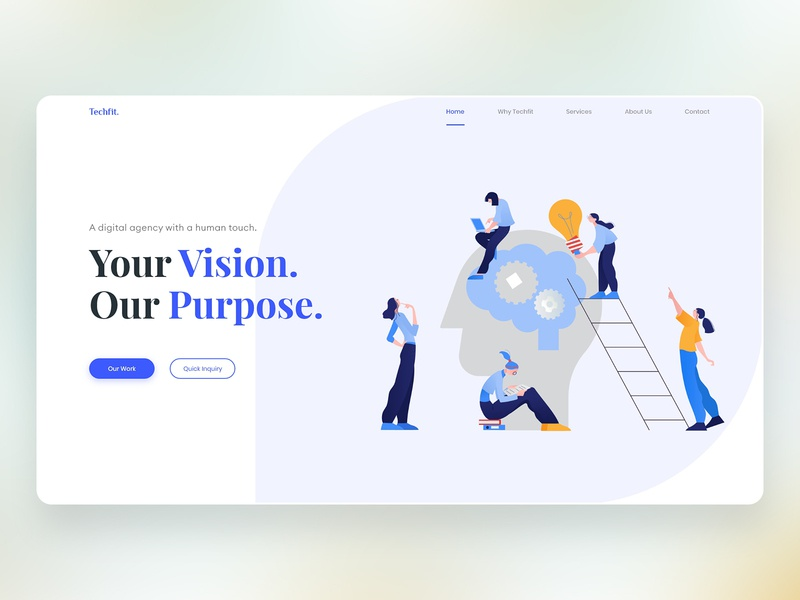 Web Development Company Website UI/UX Concept creative concept simple vector clean web development company flat website type web design minimal web identity ui ux design
