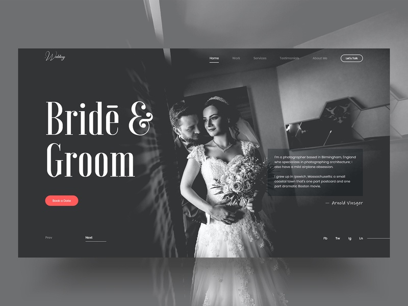Wedding Website UI/UX Concept groom bride user experience user interface photography wedding graphic flat website web design minimal web identity ux ui design